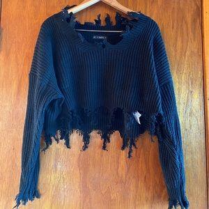 Zaful Black Cropped Sweater